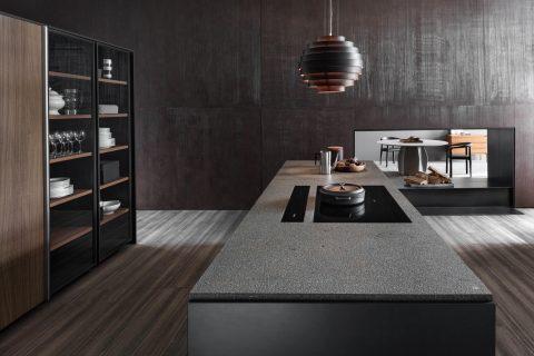 Modern interior design of room, kitchen island, seamless design, luxurious interior background.
