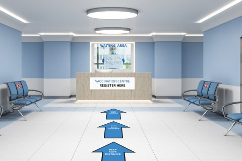 Modern waiting room in blue hospital interior with reception desk. Medical and healthcare concept. 3D Rendering